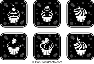 セット, アイコン, cupcakes