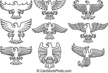 セット, アイコン, heraldic, 薄くなりなさい, ワシ, 線