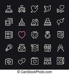 セット, アイコン, icons., ベクトル, 結婚式, 線