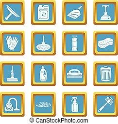 セット, アイコン, sapphirine, ベクトル, 広場, 清掃