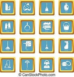 セット, アイコン, sapphirine, ベクトル, 広場, 清掃, 道具