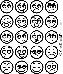 セット, アイコン, smiley, イラスト, ベクトル, faces.