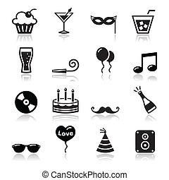 セット, アイコン, yea, -, birthday, パーティー, 新しい