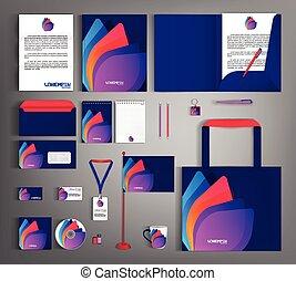 セット, アイデンティティー, 多彩, 抽象的, カラフルである, object., テンプレート, 企業のビジネス, ...