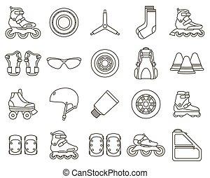 セット, アウトライン, アイコン, 付属品, イラスト, 隔離された, バックグラウンド。, ベクトル, スケート, インラインである, 白, ローラー