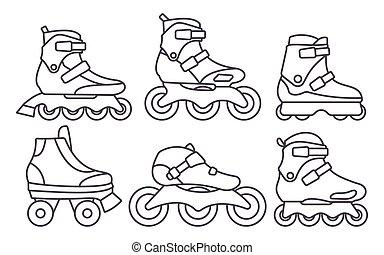 セット, アウトライン, アイコン, 隔離された, イラスト, バックグラウンド。, ベクトル, スケート, インラインである, 白, ローラー