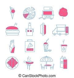 セット, アウトライン, カラフルである, 単純である, 速い, イラスト, 食物, ストローク, circles., icons.