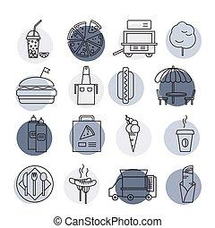 セット, アウトライン, カラフルである, 単純である, 速い, icons., 食物, ストローク, ベクトル, イラスト, circles.