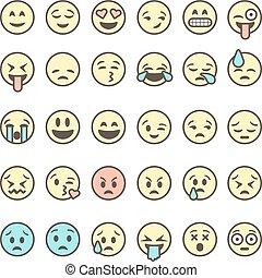 セット, アウトライン, カラフルである, emoticons, 隔離された, 背景, ベクトル, 白, emoji, illustration.