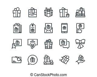 セット, アウトライン, ギフトカード, 提供, icons., 含む, ベクトル, プレゼント, gifts., そのような物, 他, リボン