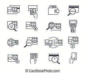 セット, アウトライン, クレジット, 安全である, icons., 銀行業, ベクトル, 借方, 電子の支払い, ...