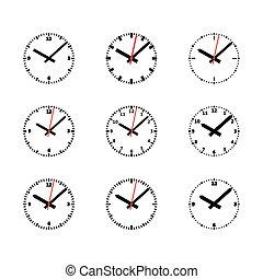 セット, アウトライン, 時計, -, 隔離された, ベクトル, アイコン, illustration.