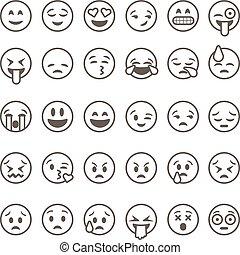 セット, アウトライン, emoticons, 隔離された, 背景, ベクトル, 白, emoji, illustration.