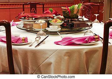 セット, アジア人, 中国のレストラン