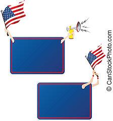 セット, アメリカ, flag., フレーム, 2, メッセージ, スポーツ