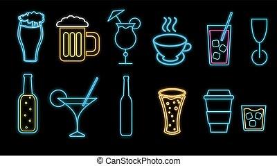セット, アルコール中毒患者, お茶, 抽象的, ビール, ネオン, びん, 多彩, サイン, 飲み物, cafe:, カクテル, バックグラウンド。, 白熱, 黒, ウイスキー, アイコン, ガラス, イラスト, バー, コーヒー, ベクトル, 光沢がある