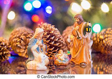 セット, イエス・キリスト, nativity, ライト, ヨセフ, mary, 背景, クリスマス