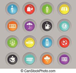 セット, イギリス\, 有色人種, プラスチック, ボタン, ラウンド, アイコン