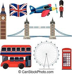 セット, イギリス\, 観光客, 要素