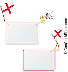 セット, イギリス\, flag., フレーム, 2, メッセージ, スポーツ