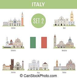 セット, イタリア, 場所, 有名, 2, cities.