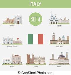 セット, イタリア, 場所, 有名, 4, cities.