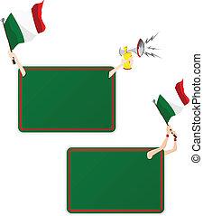 セット, イタリア, flag., フレーム, 2, メッセージ, スポーツ