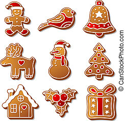 セット, イラスト, クリスマス, デザイン, ショウガ, パン, あなたの