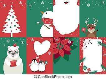セット, イラスト, ベクトル, デザイン, クリスマスカード