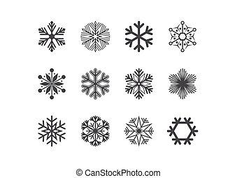 セット, イラスト, ベクトル, 黒, icon., 雪片