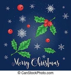 セット, イラスト, ベクトル, decorations., holly., クリスマス