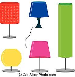 セット, イラスト, ランプ, ベクトル, ランプ, テーブル, 家具