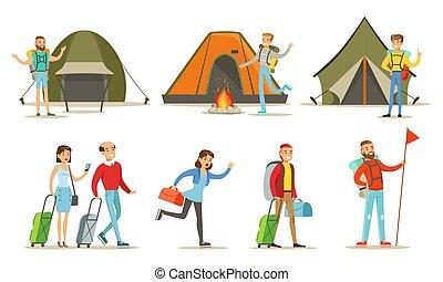 セット, イラスト, 人々, 休暇, ハイカー, ベクトル, 出費, 行く, 夏キャンプ, 時間