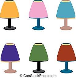 セット, イラスト, 多彩, ベクトル, ランプ, テーブル