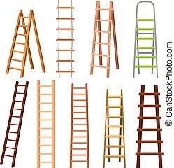 セット, イラスト, 多目的, 色, はしご, 別, 多数, ベクトル