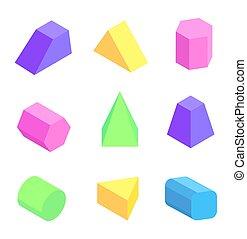 セット, イラスト, 明るい, ベクトル, 数字, 幾何学的