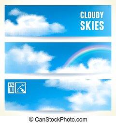 セット, イラスト, eps10, editable., clouds., ベクトル, 水平なバナー