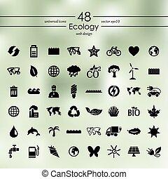 セット, エコロジー, アイコン