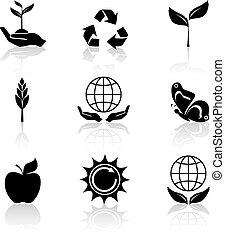 セット, エコロジー, 黒, アイコン