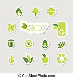 セット, エコロジー, icons.