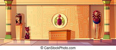 セット, エジプト人, ファラオ, 女王, -, ベクトル, バスト, 石棺