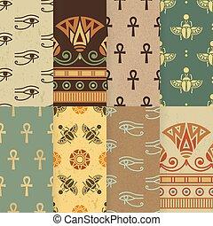 セット, エジプト人, 国民, ornament., seamless, イラスト, ベクトル, 8