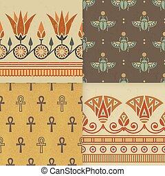 セット, エジプト人, 国民, ornament., seamless, イラスト, 4, ベクトル