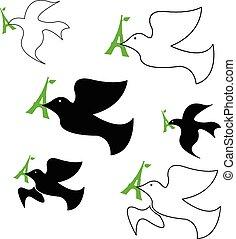 セット, エッフェル, 平和, イラスト, beak., ベクトル, 緑, タワー, 鳩, ∥そ∥