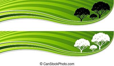 セット, エネルギー, 木, 波, 緑, 旗
