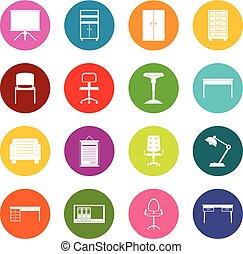 セット, オフィスアイコン, 多くの色, 家具