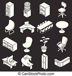 セット, オフィスアイコン, 灰色, ベクトル, 家具