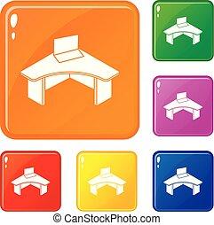 セット, オフィスアイコン, 色, ベクトル, テーブル