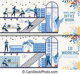 セット, オフィススペース, ベクトル, co-working, 開いた, 旗