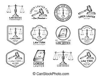 セット, オフィス, スケール, 型, 提唱者, labels., ∥など∥, ベクトル, 正義, 小槌, アイコン, 弁護士, 法律, illustrations.